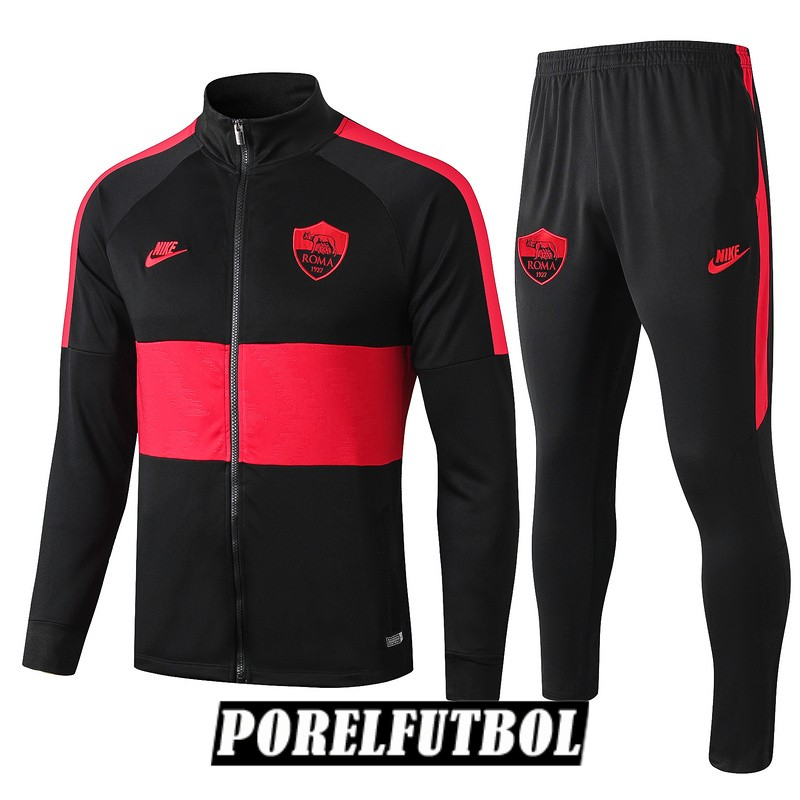 as roma chaqueta negro rojo 2019 20