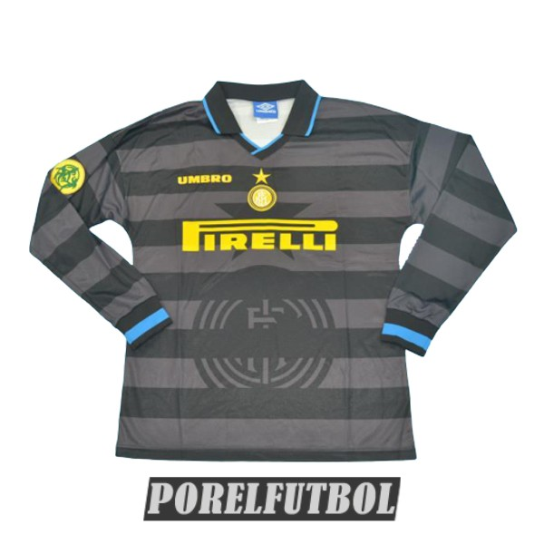 camiseta inter milan retro manga larga segunda 1997-1998