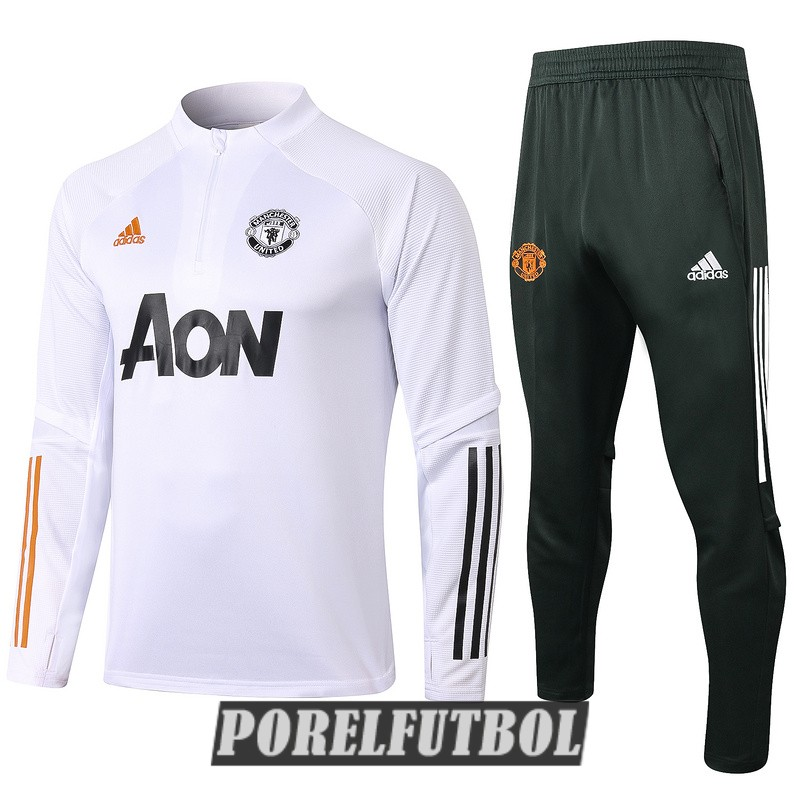 chandal manchester united 2020 21 cremallera blanco